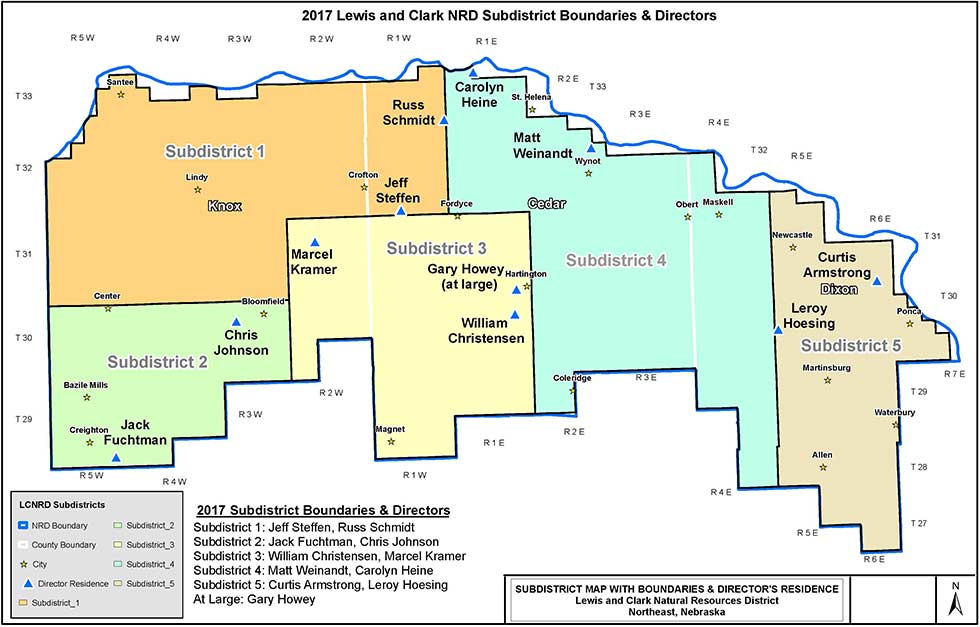 Map of Lewis & Clark NRD Subdistrict Boundaries & Directors